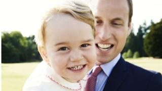Prince George, on his second birthday with his father, the Duke of Cambridge