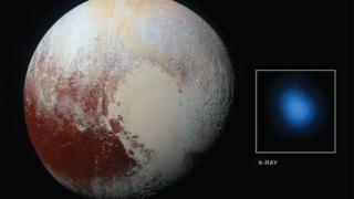 Imagen difundida por la NASA (no a escala) que muestra el planeta enano y las radiaciones X detectadas.