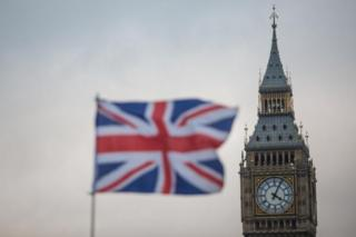 Bandera británica con el Big ben detrás.