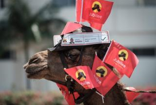 """One and half year-old male camel """"Junior"""" is decorated with flags as his owner takes part in a voluntary campaign to support Kenya""""s president and his Jubilee Party in Nairobi on September 18, 2017. Doubts are growing over Kenya""""s ability to hold a rerun of its presidential election in just one month as key players remain unable to agree on how to conduct a credible vote, analysts say. Bickering on all sides and confusion over the process have only increased as the clock ticks down to the October 17 vote, called after the Supreme Court annulled the initial August election, citing widespread irregularities."""