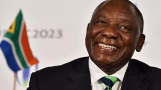 South Africa's deputy President Cyril Ramaphosa takes part in a press conference after South Africa presented their bid to host the 2023 Rugby World Cup in London on September 25, 2017 The World Rugby Council will hear the presentations from candidates France, Ireland and South Africa and the Rugby World Cup Board will make its recommendation on October 31 before the final decision on who will host the 10th edition is made on November 15.