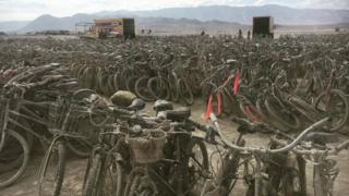5,000 bicycles were abandoned in the desert at this year's Burning Man festival