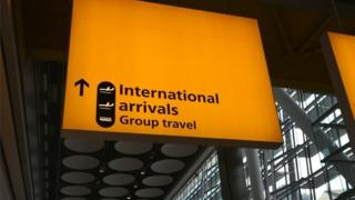 International arrivals sign at Heathrow