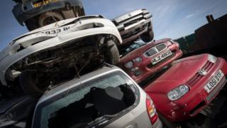 cars at scrappage yard