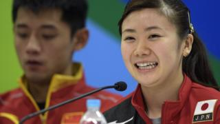 Ai Fukuhara (R) of Japan gives a press conference at Riocentro complex in Rio de Janeiro, on August 3, 2016