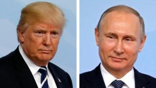 Prezida Donald Trump wa Amerika (i buryo) na Vladimir Putin w'Uburusiya