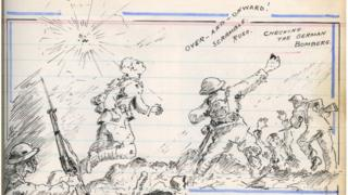 Jim Maultsaid's diaries include many comic-book style sketches of battle
