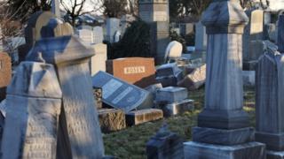 toppled gravestones