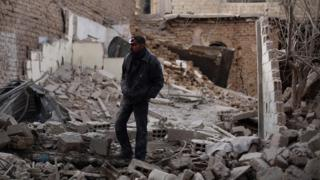 The outskirts of Damascus in the aftermath of a Syrian government airstrike