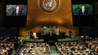 문재인 대통령이 지난 21일 유엔 총회에서 연설하는 모습