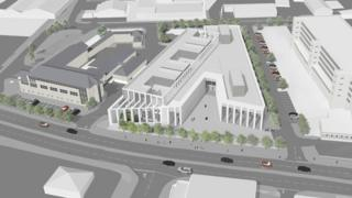 Illustrated aerial view of Inverness Justice Centre