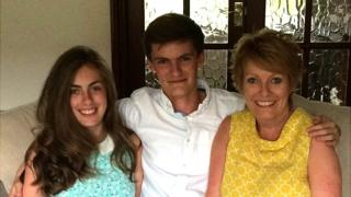 Ben Hopkins with his mother Tracy and sister Alice