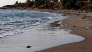 Fener Burnu Beach, the same beach where the lifeless body of Syrian boy Alan Kurdi, 3, when boats carrying migrants to the Greek island of Kos capsized last week near the Turkish resort of Bodrum, Turkey, 8 September 2015.