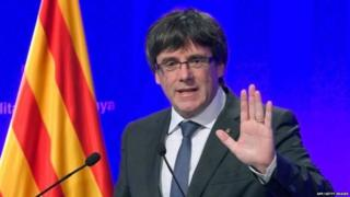 Carles Puigdemont earlier appealed for international mediation to help solve the growing crisis