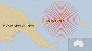 A BBC map shows the location of New Britain, an island of Papua New Guinea