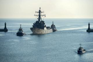 The US Navy guided-missile destroyer USS Donald Cook enters the military port in Gdynia, Poland, 8 April