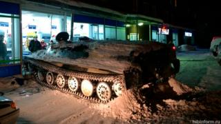 An armoured vehicle which crashed into a supermarket in northern Russia