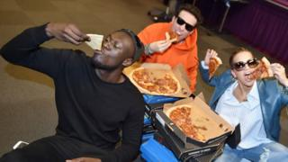 Stormzy, Grimmy and Rita Ora enjoy pizza for breakfast