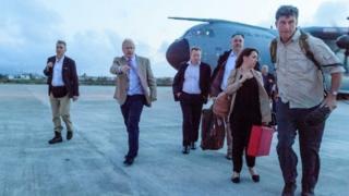 Boris Johnson arrives on Anguilla