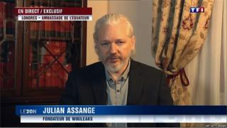 An image grab taken from French TV channel TF1 shows WikiLeaks founder Julian Assange speaking from the embassy of Ecuador in London during a televised interview with TF1 in Boulogne-Billancourt, a suburb of Paris, on June 24, 2015.
