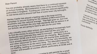 Letter from Hanley Castle High School asking parents for voluntary donations