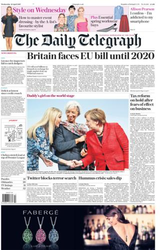 Daily Telegraph front page - 26/04/17
