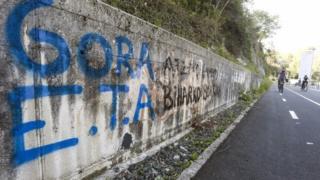 View of graffiti in support of Eta in San Sebastian, Basque Country, northern Spain (09 April 2017)