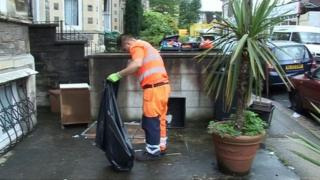Rubbish being collected in Bristol