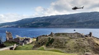 helicopter at urquhart castle