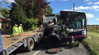 Bus and lorry crash