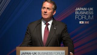 Liam Fox speaking in Japan