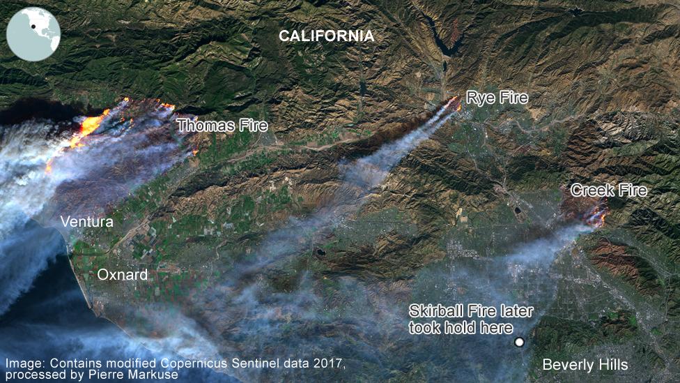 Wildfires in California, satellite image