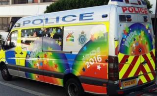 Sussex Police van decorated for Pride
