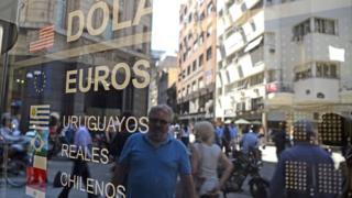 Bureau de change in Buenos Aires