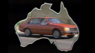A image from a 1970s advert showing a Holden car inside a map of Australia