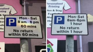 Replacement road signs in Bangor