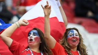 Chile fans cheer ahead of the 2017 Confederations Cup group B football match between Germany and Chile at the Kazan Arena Stadium in Kazan on June 22, 2017.