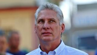 In this file picture taken on March 11, 2018 Cuba's First Vice-President Miguel Diaz-Canel queues at a polling station in Santa Clara, Cuba