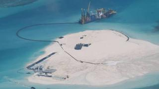 Aerial photo of a Chinese vessel at Johnson Reef, Spratly Islands on 15 May (Photo released by Philippine Department of Foreign Affairs)