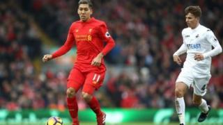 Roberto Firmino na Liverpool a wasansu da Swansea City
