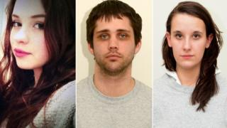 Nathan Matthews (middle) and Shauna Hoare (right) were found guilty of killing Becky Watts (left)