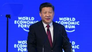 O presidente da China, Xi Jinping, durante discurso no Fórum Econômico Mundial de Davos