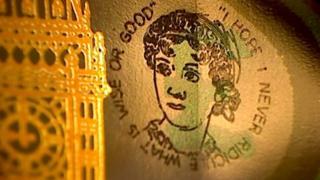 grabado en el billete de cinco libras