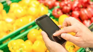 Phone and vegetables