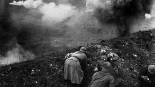 Bombardment of French troops during the Battle of Verdun. World War One 1916