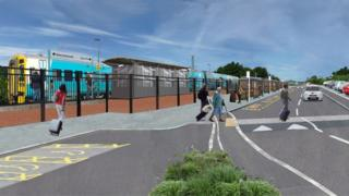 Artist's impression of a new railway station at Bow Street, Aberystwyth