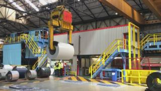 Inside the Tata works in Shotton, Flintshire