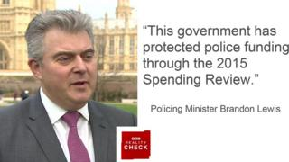 """""""This government has protected police funding through the 2015 Spending Review""""- Policing Minister Brandon Lewis"""