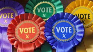 Rosettes of the main parties