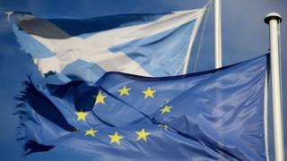 Saltire and EU flags